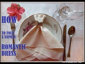 Napkin Folding A Napkin Wedding Dress Youtube Table En