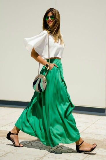 Emerald green maxi skirt with flowy white top