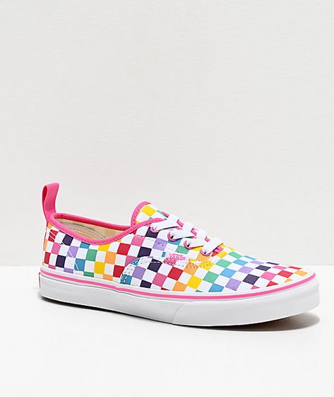 Vans Authentic Rainbow Checkerboard Skate Shoes in 2019