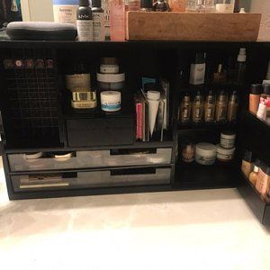 Pre Venta Black Wall Mounted Counter Top Makeup Organizer Vanity