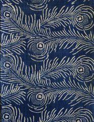 A Length of Katazome Cotton: Taisho Style Peacock Feathers