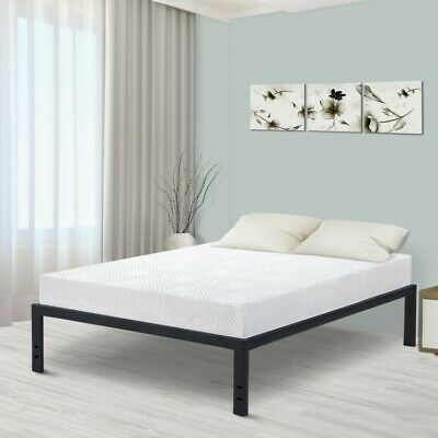 Details About Metal Slat Platform Bed Twin Bedframe Black Modern