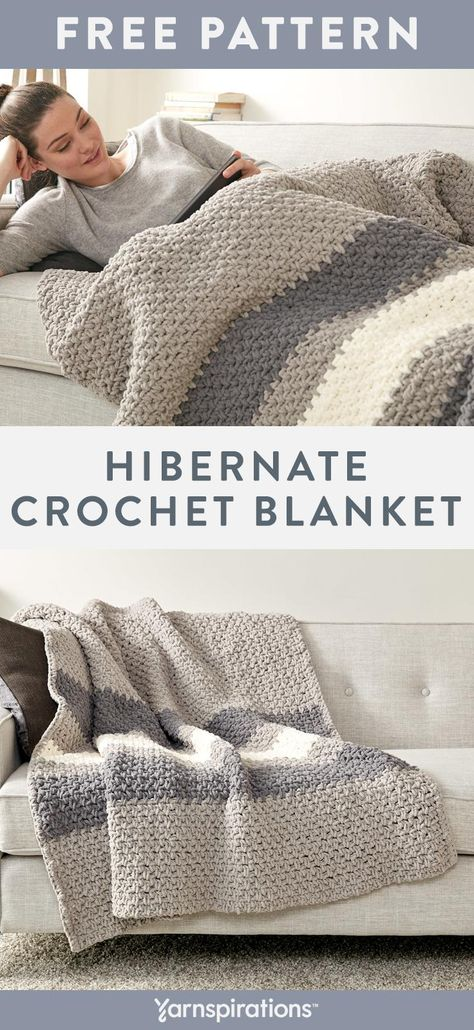 Crocheted in neutral greys and cream, this blanket fits with any home décor style. Super-bulky Bernat Blanket yarn works up quickly and its chenille-style finish makes for a super-soft throw. Click to download the free crochet pattern. #Yarnspirations #Bernat #BernatBlanket #FreeCrochetPattern