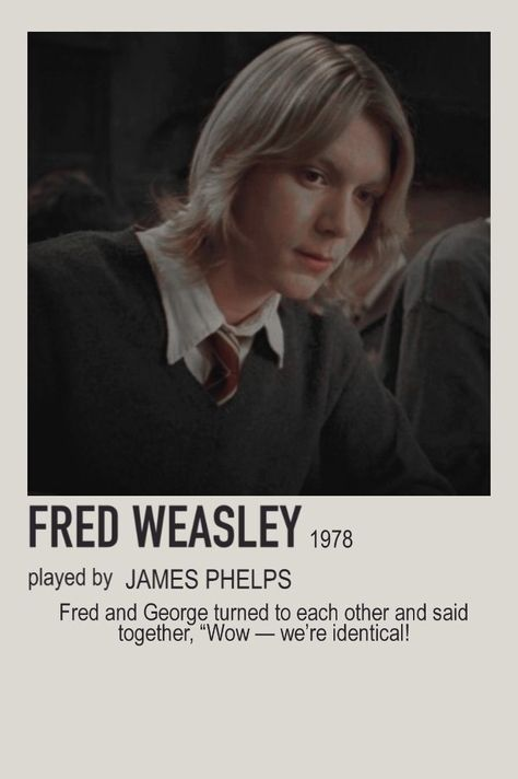 minimalist character polaroid fred weasley poster
