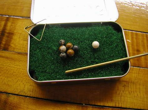 DIY Pocket Yard Pool Table made from an Altoid box!  Kids will be so proud of this home made gift when dad opens it.