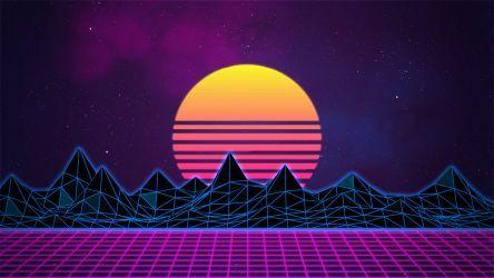 Retrowave Neon 80 S Background 4k By Rafael De Jongh Vaporwave Wallpaper Art Collage Wall Desktop Wallpaper Art