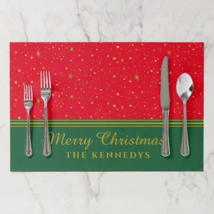 Gold Glitter Stars Red Green Merry Christmas Paper Placemat Zazzle Com Christmas Paper Gold Glitter Stars Christmas Placemats