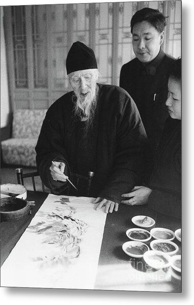 Qi Baishi at work in his studio, January 1957. Metal Print by The Harrington Collection