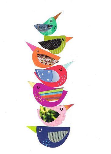 Bird Gathering Birdy Totem of cuteness. - cute idea for a Bird Mobile! Bird Gathering Birdy Totem of Vogel Quilt, Art Du Collage, Kids Collage, Collage Ideas, Wall Collage, Paper Art, Paper Crafts, Paper Collages, Bird Crafts