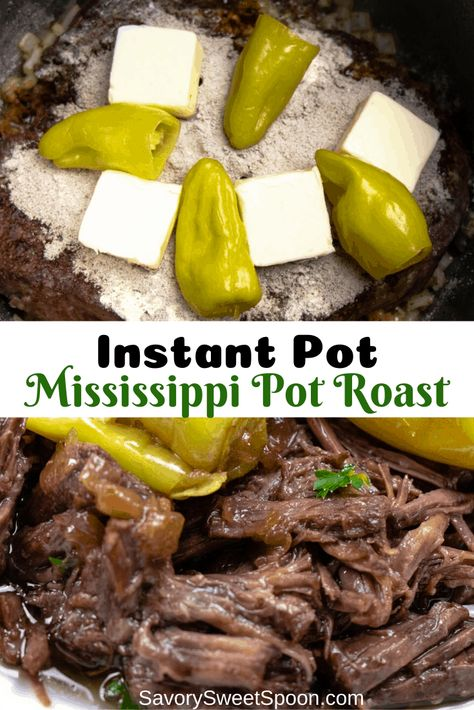This flavorful Instant Pot Mississippi Pot Roast is a great low carb dinner that will melt in your mouth! This flavorful Instant Pot Mississippi Pot Roast is a great low carb dinner that will melt in your mouth! Crock Pot Recipes, Pot Roast Recipes, Cooking Recipes, Recipe For Pot Roast, Healthy Crockpot Pot Roast, Crock Pot Roast, Best Roast Recipe, Oven Pot Roast, Chuck Roast Recipes
