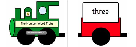 Here's a set of train-themed number word poster cards from 0-20.