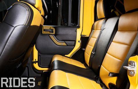 2012 Jeep Wrangler Unlimited Rubicon yellow and black interior carbon fiber