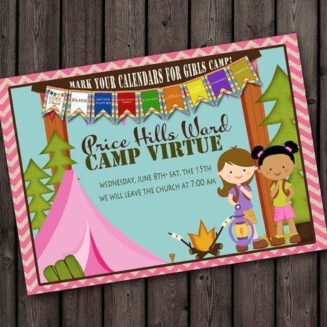 Girls camp young womens camp invitation with free wording girls camp young womens camp invitation with free wording customization on etsy 1000 lds young women pinterest girls camp church ideas and stopboris Choice Image