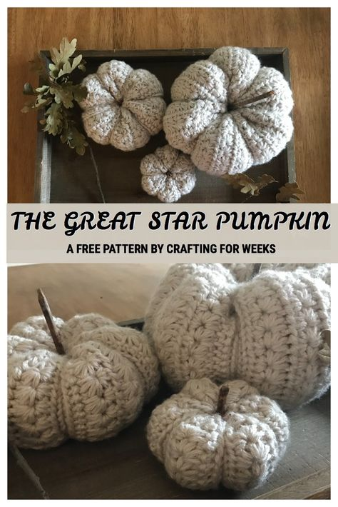 The Great Star Pumpkin: A Free Crochet Pattern - Crafting for Weeks The Great Star Pumpkins come in three sizes and feature the star stitch. Perfect additions to your fall decor. Holiday Crochet, Crochet Home, Crochet Crafts, Yarn Crafts, Free Crochet, Crochet Fall Decor, Thanksgiving Crochet, Crochet Geek, Easy Crochet