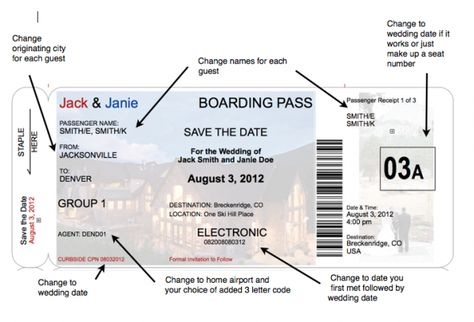 boarding pass invite templates Boarding Pass Save the Date, a - plane ticket template