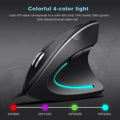 3200 DPI For PC Laptop Desktop Ergonomic Optical USB Wired Vertical Mouse Mice