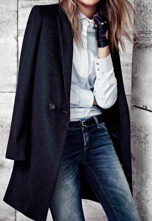 .Edgy yet classy. Classic style classic fashion classic and modern. white dress shirt outfits, button-up fashion, button up dress shirt styles, leather gloves