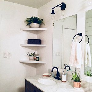 Set Of 3 Floating Corner Shelves Corner Shelf Hanging Shelf Etsy In 2020 Floating Corner Shelves Bathroom Decor Corner Shelves