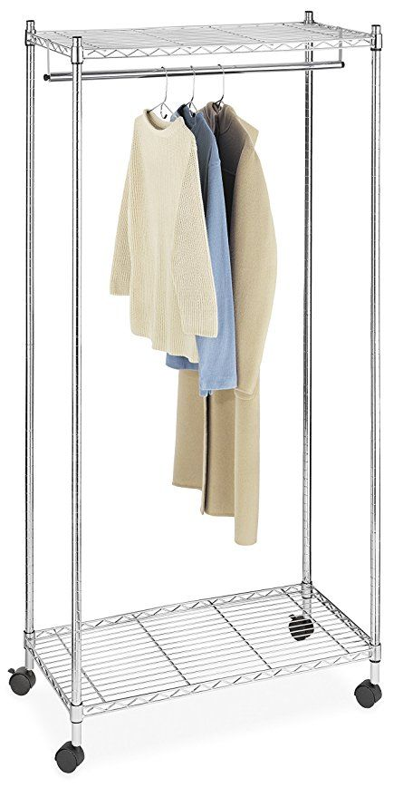 Whitmor Supreme Garment Rack Double Shelf Rolling Clothes