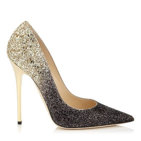 Black and Nude Coarse Degrade Glitter Pointy Toe Pumps | Anouk | Pre Fall 14 | JIMMY CHOO Pumps