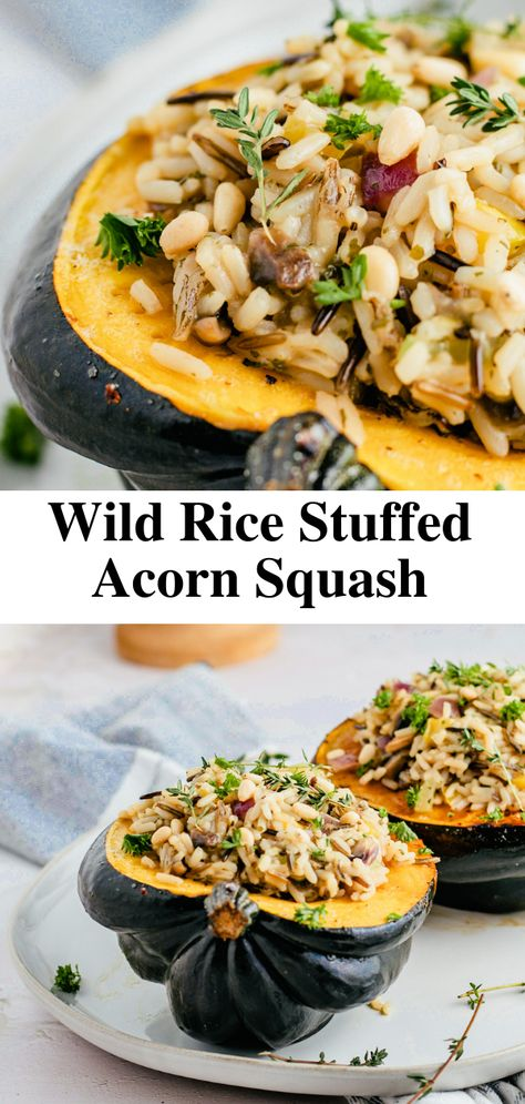 Wild rice stuffed acorn squash is just what you need to add to your fall recipe rotation this year! It's warm, hearty, and brings all of fall's natural nutritional benefits to the table! #stuffedacornsquash #acornsquash #stuffedacornsquashrecipe #veganrecipe #vegetarianrecipe #dinnerrecipe #thanksgivingrecipe #fallrecipe #squashrecipe #thanksgivingdinner #stuffedsquash #stuffedsquashrecipe #dinneridea #dinnerrecipe #roastedsquash #ricestuffedacornsquash #acornsquashrecipe #christmasrecipe