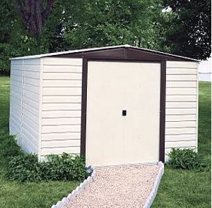 Arrow Vinyl Dallas 10x12 Vinyl Coated Steel Coffee Almond Low Gable 71 3 Wall Height Slidi Building A Shed Diy Shed Plans Shed Storage