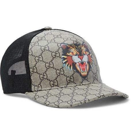 GUCCI GUCCI - ANGRY CAT PRINTED COATED-CANVAS AND MESH BASEBALL CAP -  BROWN.  gucci   affe8f92ce3