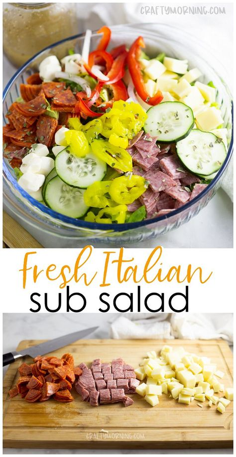 Italian Sub Salad Recipe- Delicious summer salad recipe to make for a potluck or. Italian Sub Salad Recipe- Delicious summer salad recipe to make for a potluck or party. Healthy sub Italian salad dish. Cucumbers, peppers, pepperoni, cheese, etc. Italian Sub Salad Recipe, Italian Recipes, Italian Chopped Salad, Italian Dishes, Summer Salad Recipes, Healthy Salad Recipes, Salad Recipes For Dinner, Salads For Lunch, Potluck Recipes