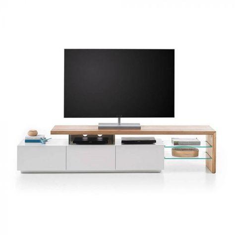 Meuble Tv Design Alrik 3 Tiroirs Laque Blanc Mat Et Chene Meuble Tv Design Meuble Tv Deco Meuble Tv