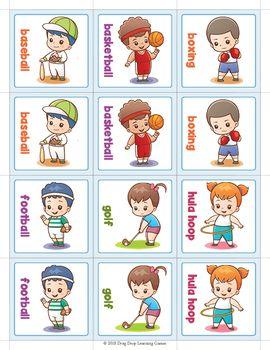 Sports Matching Card Memory Game Actividades Tarjetas