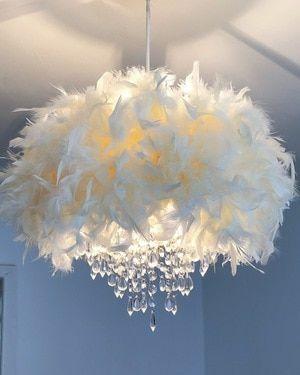 White Feather Chandelier Light Shade Mydollhouse Decor