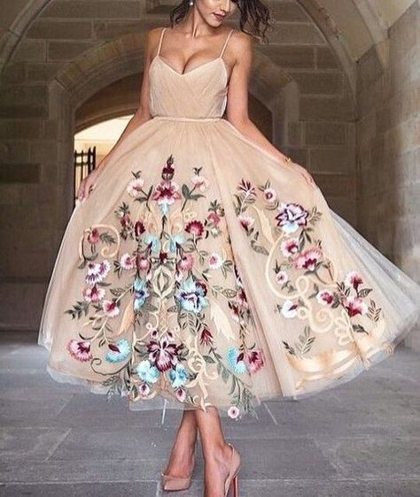 Custom Made Light Brown V-Neckline Spaghetti Strap Tulle Evening Dress, Prom Dress with Floral by Hiprom, $162.14 USD