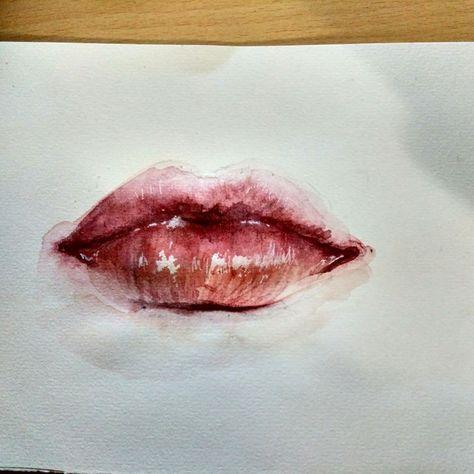 Aquarelle Lips Aquarell Lippen Aquarell Zeichnungen Malen