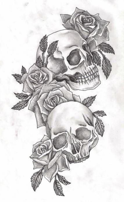 Woman Skull Tattoo Designs Drawings