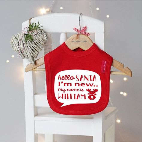 Personalised 1st Christmas Baby Bib 100/% Cotton 0-3 months Adorable