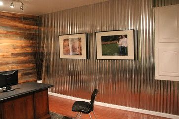 Home Office corrugated metal wall Design Ideas Pictures Remodel