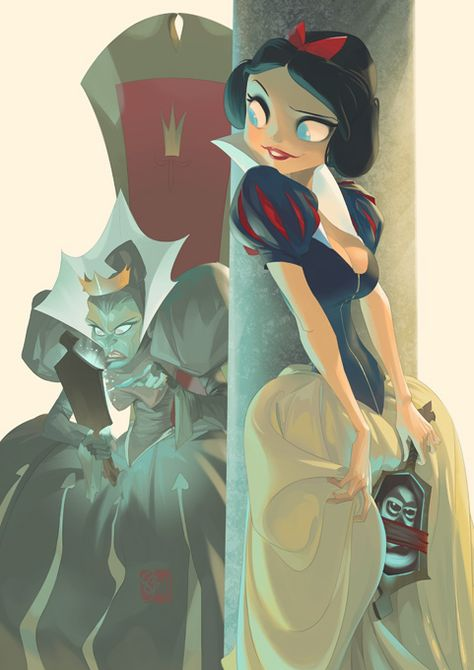 More Disney princesses by Otto Schmidt. I absolutely adore his style, it gives so much personality to these disney toons Disney Princess Art, Disney Kunst, Disney Fan Art, Disney Love, Bad Princess, Otto Schmidt, Disney Animation, Disney And Dreamworks, Disney Pixar