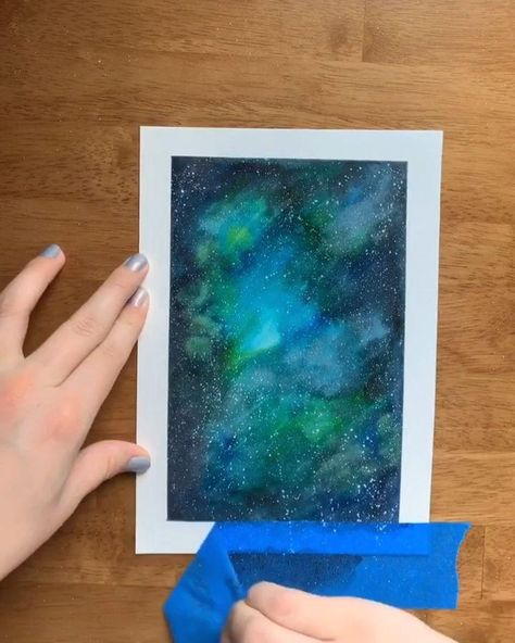 Watercolor galaxy for kids - #drawings
