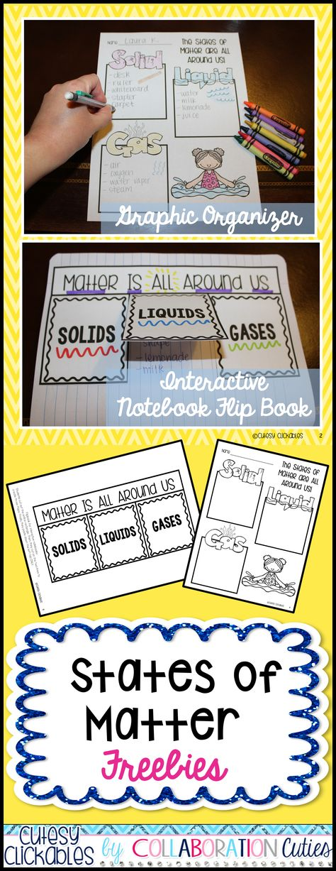 States of Matter Freebies- Graphic Organizer and Flip Book for your states of matter unit! Lots of ideas for use- Students can go on a hunt around the school to search for different states of matter and record them on the graphic organizer or use for notes and review!