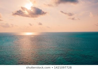 Inspirational Calm Sea With Sunset Sky Meditation Ocean And Sky Background Colorful Horizon Over The Water Ca Beach Scenery Beach Background Beach Landscape