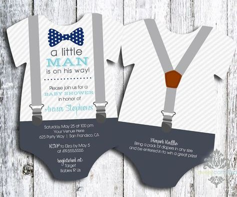 Check out Little Man - Bow Tie and Suspenders Child Bathe Invitation - Onesie Formed Bow Tie Bathe Invitation - Little Man - 5x7 - Set of 25