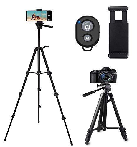 Tr/épied Smartphone,CCRoom 127cm Aluminium Trepied Appareil Photo pour Cam/éra iphone avec Support de t/él/éphone et t/él/écommande Bluetooth pour Vid/éo et Photo