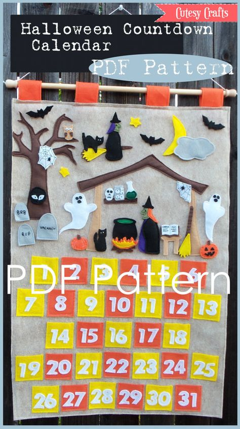 Build-A-Scene Halloween Countdown Calendar  PDF Pattern