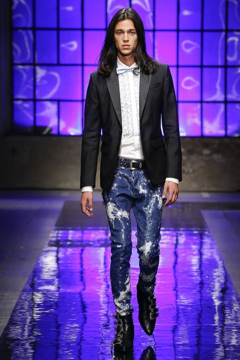 Replace the tie, shirt and Tuxedo jacket with a button down dress shirt and leather jacket that echoes the shoes and...well...I guess that would be a different Show :)  LOVE THE JEANS! Dsquared2 Spring 2018 Menswear Collection - Vogue