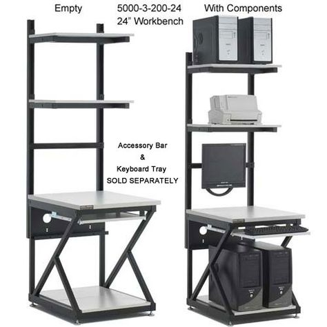 Kendall Howard Computer #WorkBench - an intelligently designed, versatile work station. This #modular system features shelves that adjust in any increment, a knock-down design for easy transport, and universal preset accessory mounting holes.