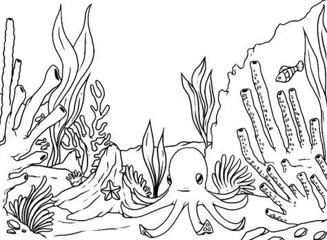Gambar Mewarnai Pemandangan Bawah Laut 3 Coral Reef Drawing Sea Animals Drawings Mermaid Coloring Pages