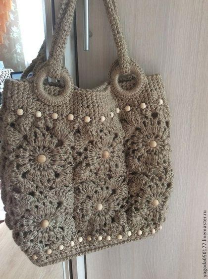 85157581a727 Женские сумки ручной работы. Ярмарка Мастеров - ручная работа. Купить  Джутовая сумка, вязаная из мотивов. Handmade. Бежевый, для девушки