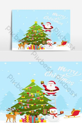 Christmas And New Year Decoration Background With Santa And Christmas Tree Png Images Ai Free Download Pikbest Christmas Poster New Years Decorations Christmas Design
