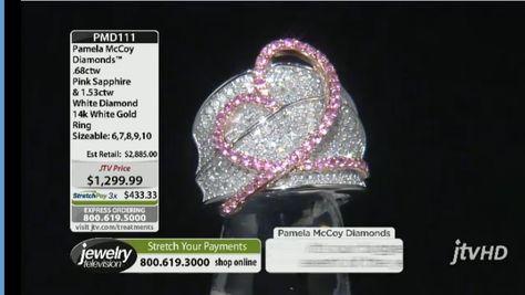 Pamela McCoy Diamonds(Tm) .68ctw Pink Sapphire  1.53ctw White Diamond 14k White Gold Ring--only 1 left in a size 8!