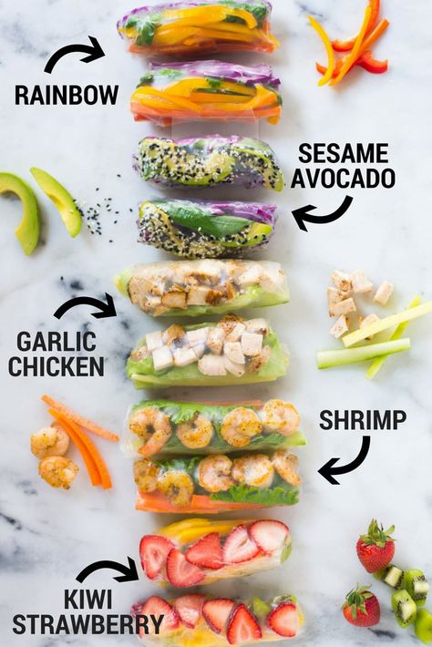Enjoy these 5 different Healthy Spring Roll Recipes from vegetarian, protein packed, and even fruity spring rolls plus how to make a special spring roll dipping sauce for each one. These healthy spring rolls are really fun, fresh, and super easy! Healthy Spring Rolls, Fresh Spring Rolls, Fresh Rolls, Rice Paper Spring Rolls, Vegetarian Spring Rolls, Quick Vegetarian Dinner, Shrimp Spring Rolls, Summer Rolls, Dinner Healthy